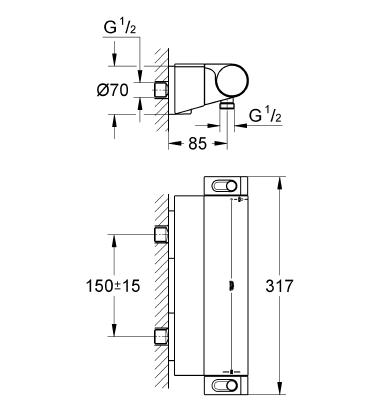 Grohtherm 2000 NEW Termostatik Duş Bataryası