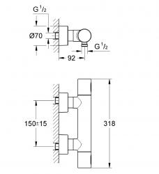 Grohtherm 3000 Cosmopolitan Termostatik Duş Bataryası - Thumbnail