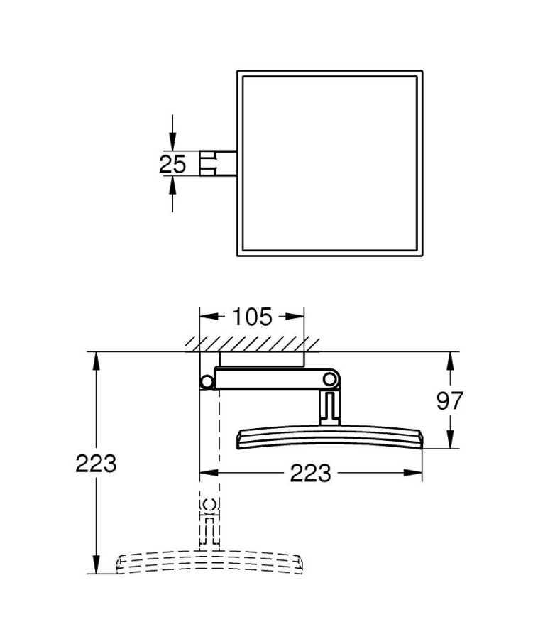 Selection Cube Duvara Monte Makyaj Aynası Krom