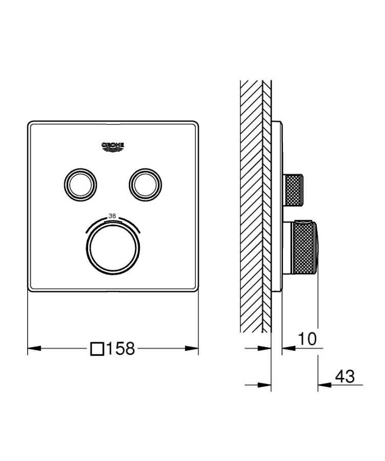 Grohtherm Smartcontrol Çift Yönlü Ankastre Termostatik Duş Bataryası