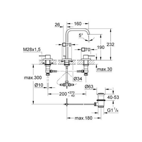 Grohe Allure 3 Delikli Lavabo Bataryası - 20188000