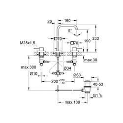 Grohe Allure 3 Delikli Lavabo Bataryası - 20188000 - Thumbnail