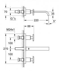 Grohe Allure 3 Delikli Lavabo Bataryası M-Boyut - Thumbnail