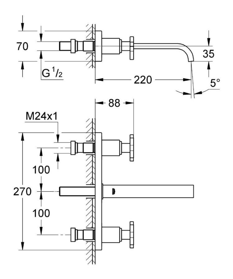 Grohe Allure 3 Delikli Lavabo Bataryası M-Boyut - 20192000