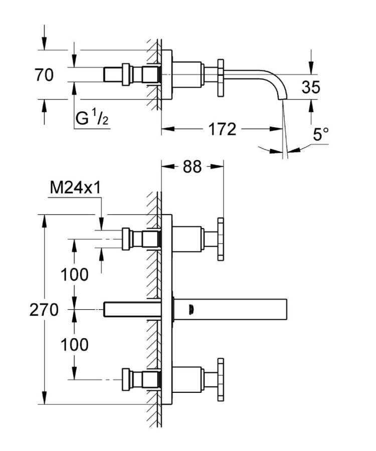 Grohe Allure 3 Delikli Duvardan Lavabo Bataryası S-Boyut - 20190000