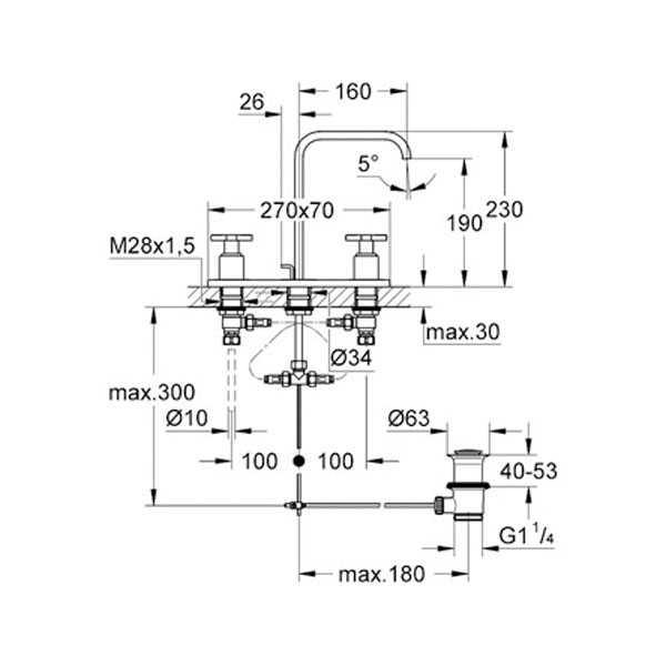 Grohe Allure 3 Delikli Lavabo Bataryası M - Boyut - 20143000