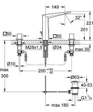 Grohe Allure Brilliant 3 Delikli Lavabo Bataryası M Boyut - 20344000