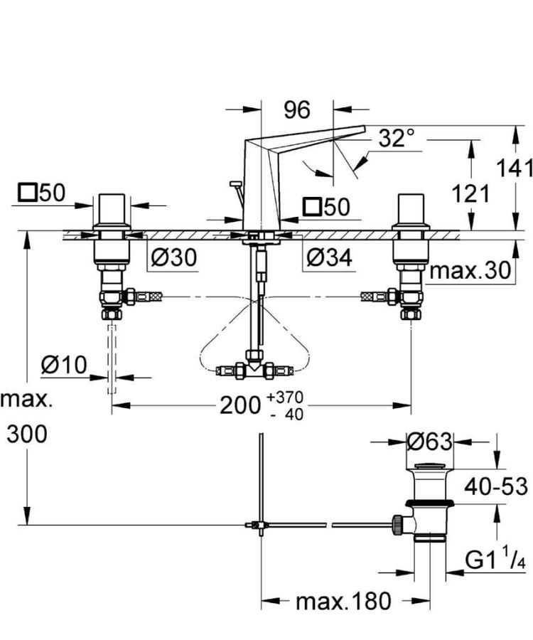 Grohe Allure Brilliant 3 Delikli Lavabo Bataryası-S Boyut - 20342000
