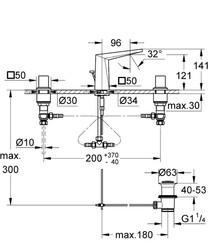 Grohe Allure Brilliant 3 Delikli Lavabo Bataryası-S Boyut - 20342000 - Thumbnail