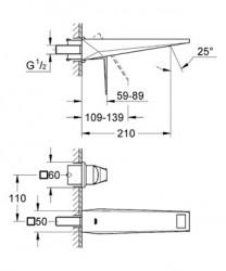 Grohe Allure Brilliant İki Delikli Duvardan Lavabo Bataryası - Thumbnail