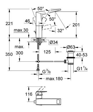 Grohe Allure Brilliant Tek Kumandalı Lavabo Bataryası