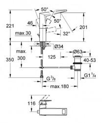 Grohe Allure Brilliant Tek Kumandalı Lavabo Bataryası - Thumbnail