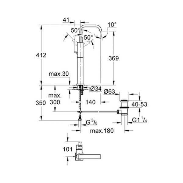 Grohe Allure Kuğu Boyunlu Tek Kumandalı Çanak Lavabo Bataryası - 32249000