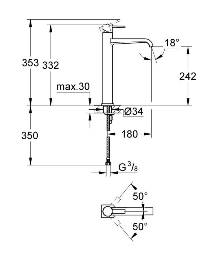 Grohe Allure Single Tek Kumandalı Çanak Lavabo Bataryası - 23403000