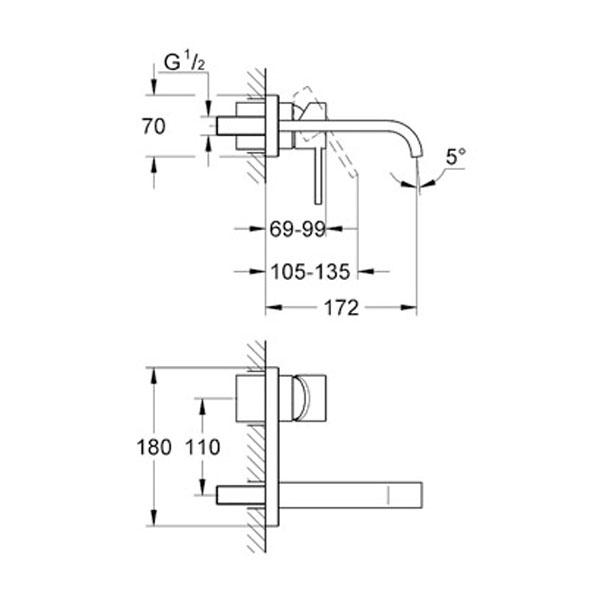 Grohe Allure Tek Kumandalı Duvardan Ankastre Lavabo Bataryası S- Boyut - 19309000