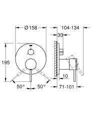 Grohe Atrio New Ankastre Banyo Duş Bataryası 3 çıkışlı divertörlü- 24096003 - Thumbnail