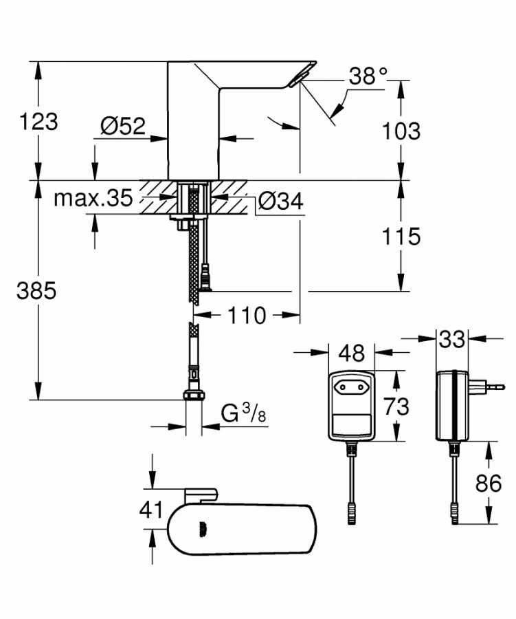 Grohe Fotoselli Lavabo Bataryası Elektrikli çift sugiriş 36453000