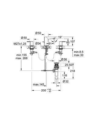 Grohe BauEdge 3 Delikli Lavabo Bataryası - 20197000