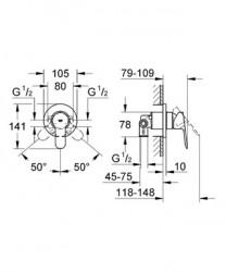 Grohe BauEdge Ankastre Duş Bataryası - 29040000 - Thumbnail