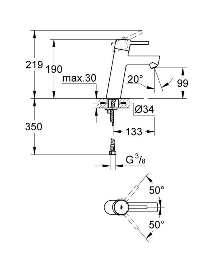 Grohe Concetto Single Tek Kumandalı Lavabo Bataryası - 23451001