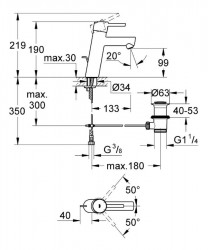 Grohe Lavabo Bataryası Concetto M-Boyut Krom - 23450001 - Thumbnail