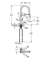 Grohe Concetto Professional Tek Kumandalı Eviye Bataryası Siyah - Thumbnail