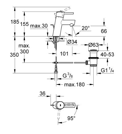 Grohe Lavabo Bataryası Concetto S-Boyut Krom - 2338010E