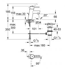 Grohe Lavabo Bataryası Concetto S-Boyut Krom - 2338010E - Thumbnail