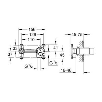 GROHE - Grohe Duvardan Lavabo Bataryası İçin Ankastre İç Gövde - 32635000 (1)