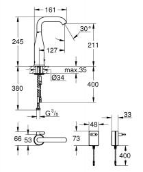 Grohe Fotoselli Lavabo Bataryası Elektrikli çift sugiriş 36444000 - Thumbnail