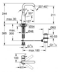 Grohe Lavabo Bataryası Essence L-Boyut Cool Sunrise - 32628GL1 - Thumbnail
