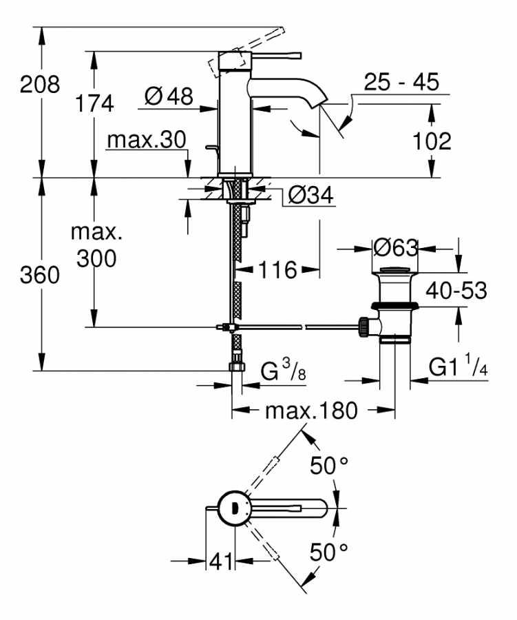 Grohe Lavabo Bataryası Essence S-Boyut Krom - 23589001
