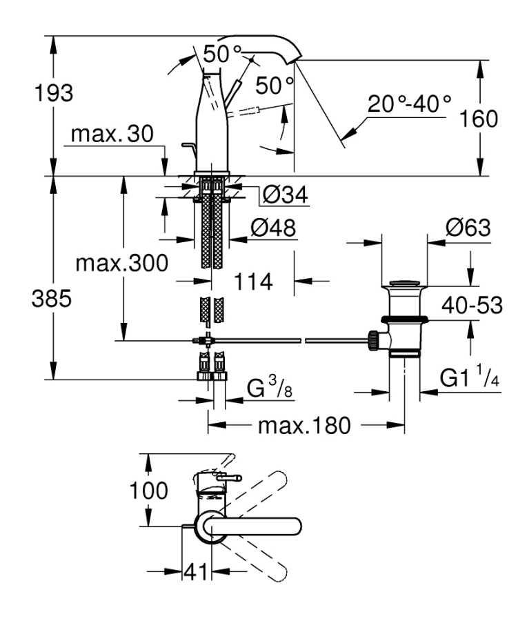 Grohe Essence New Tek Kollu Lavabo Bataryası M Boyut - 23462A01