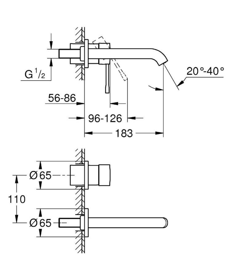 Grohe Essence İki Delikli Duvardan Lavabo Bataryası M-Boyut