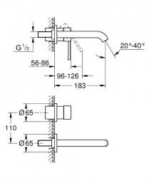 Grohe Essence İki Delikli Duvardan Lavabo Bataryası M-Boyut - 19408001 - Thumbnail