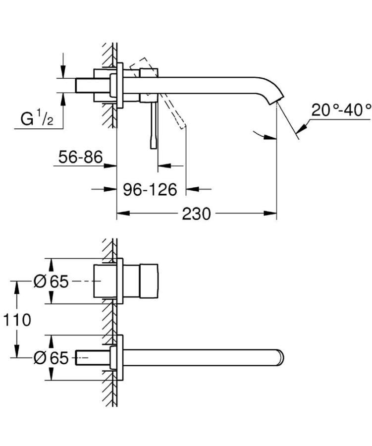 Grohe Essence İki Delikli Duvardan Lavabo Bataryası L-Boyut