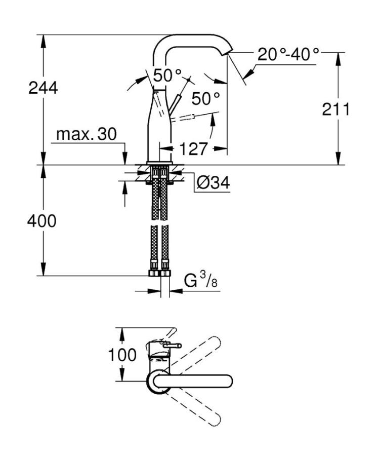 Grohe Lavabo Bataryası Essence L-Boyut Krom - 23541001