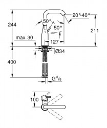 Grohe Lavabo Bataryası Essence L-Boyut Krom - 23541001 - Thumbnail