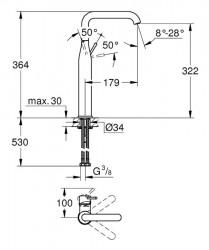 Grohe Essence New Tek Kumandalı Çanak Lavabo Bataryası - Thumbnail