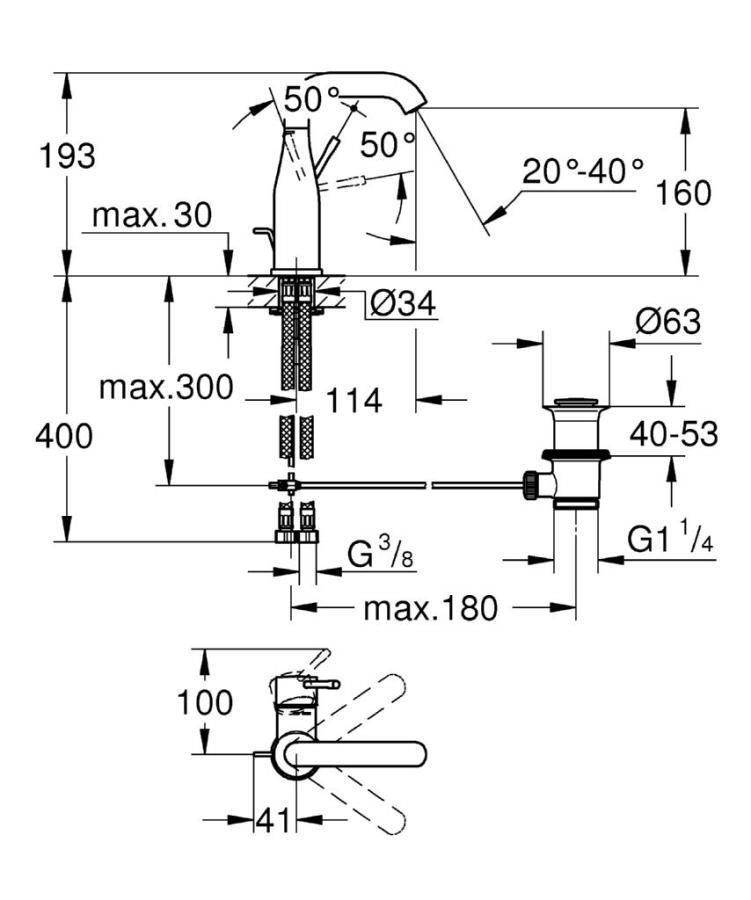 Grohe Lavabo Bataryası Essence M-Boyut Krom - 23462001