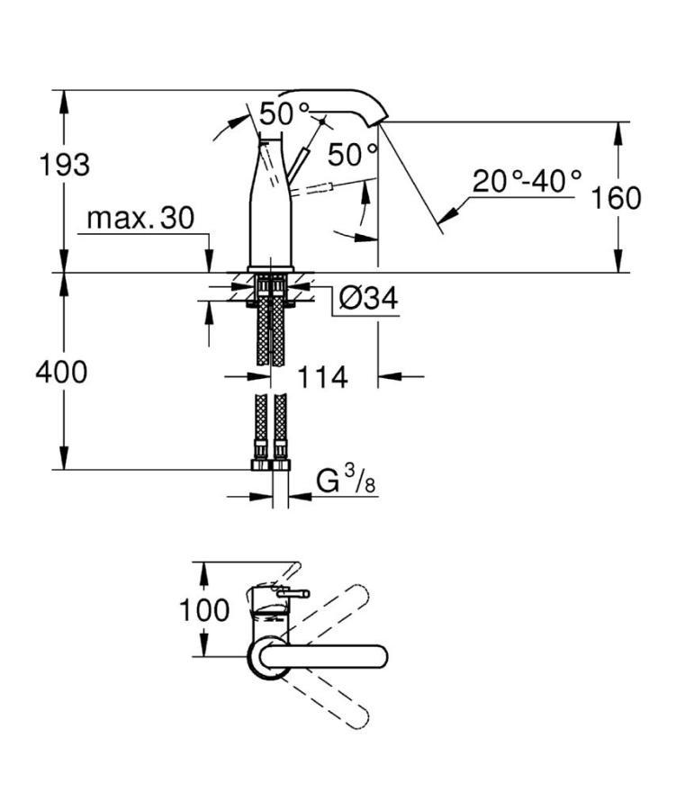 Grohe Essence New Tek Kumandalı Lavabo Bataryası M-Boyut - 23463001