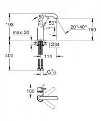Grohe Essence New Tek Kumandalı Lavabo Bataryası M-Boyut - 23463001 - Thumbnail