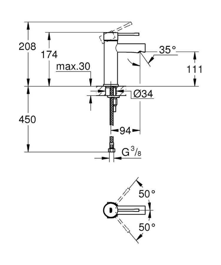 Grohe Essence New Tek Kumandalı Lavabo Bataryası S-Boyut - 34294001