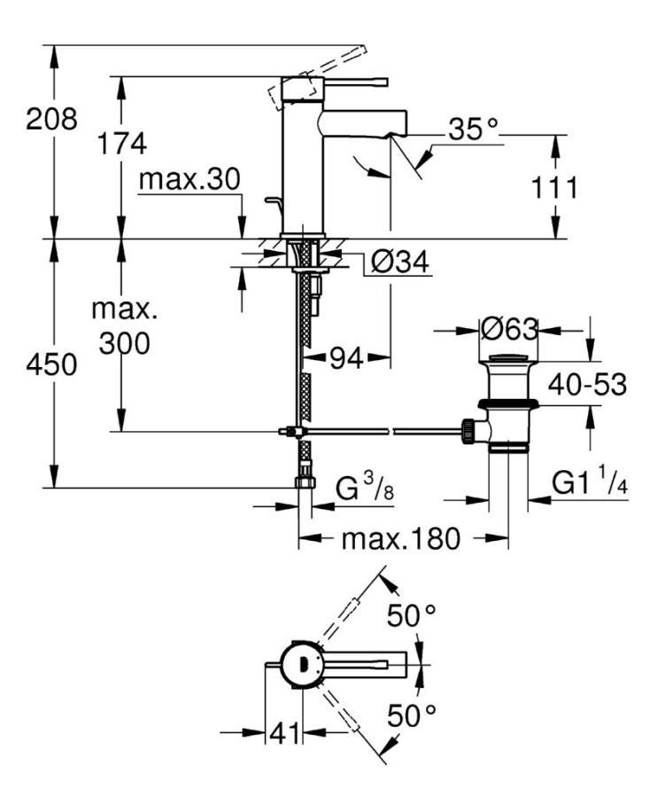 Grohe Essence New Tek Kumandalı Lavabo Bataryası S-Boyut