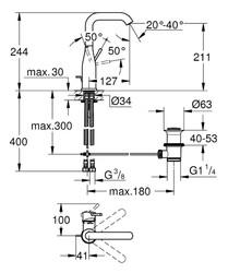 Grohe Essence Tek Kumandalı Lavabo Bataryası - 32628001 - Thumbnail