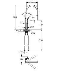 Grohe Eviye Bataryası Spiralli 2 Fonk. Essence Krom/Mor - 124977 - Thumbnail