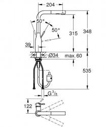 Grohe Eviye Bataryası Spiralli 2 Fonk. Essence Krom - 30270000 - Thumbnail