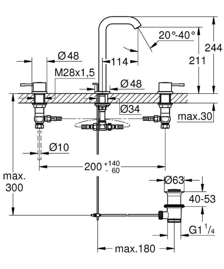 Grohe Essence New Üç Delikli Lavabo Bataryası L-Boyut - 20299001