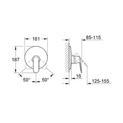 Grohe Eurocosmo Ankastre Duş Bataryası - 19383000 - Thumbnail