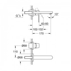 Grohe Eurocosmo İki Delikli Duvardan Lavabo Bataryası - Thumbnail